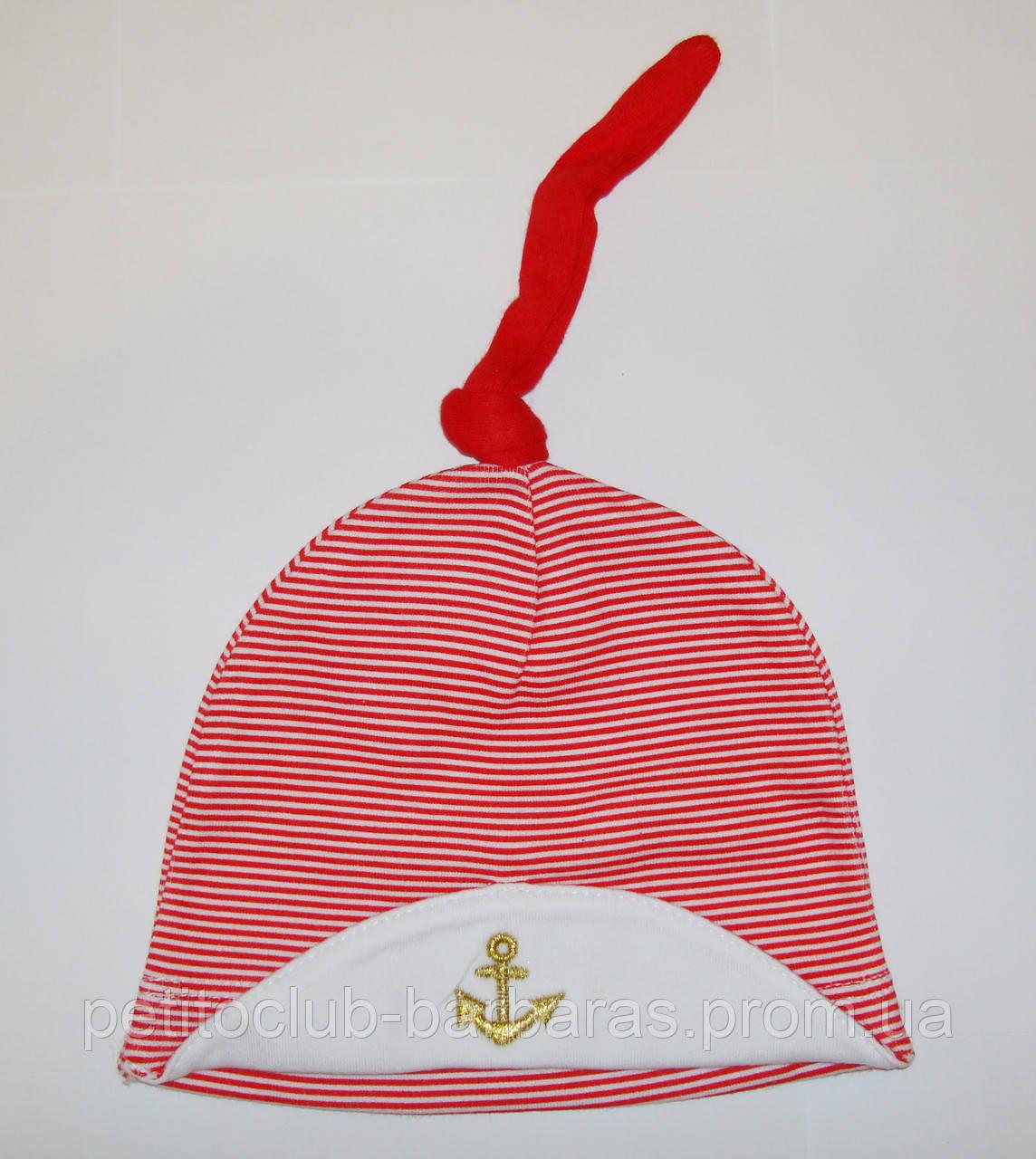 Хлопковая шапка-узелок для новорожденного мальчика Якорь (Kardi, Турция)