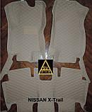 Килимки салону Nissan X-Trail Ніссан Ріг Rogue 3D (2014+) з Екошкіри 3D з текстильними накладками, фото 2