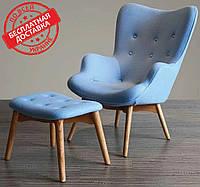 Кресло Флорино голубое с пуфом СДМ группа (бесплатная доставка)
