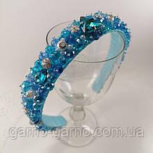 Синий голубой широкий Обруч ободок для волос с хрустальными бусинами