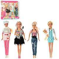 Кукла DEFA 8405-BF (24шт) 4шт, 29см, на листе, 39-33,5-5см