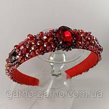Красный широкий Обруч ободок для волос с хрустальными бусинами