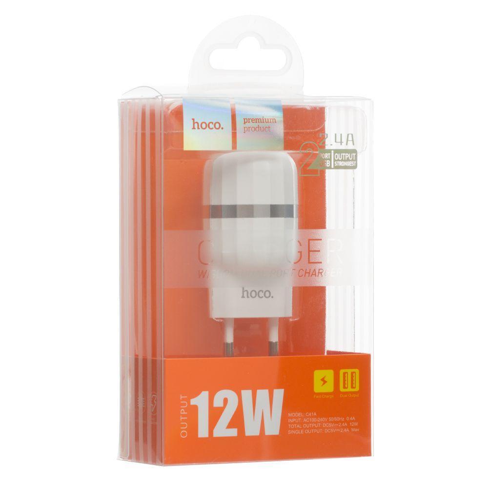 Сетевое зарядное устройство Hoco C41A (2USB, 2.4A, белое)