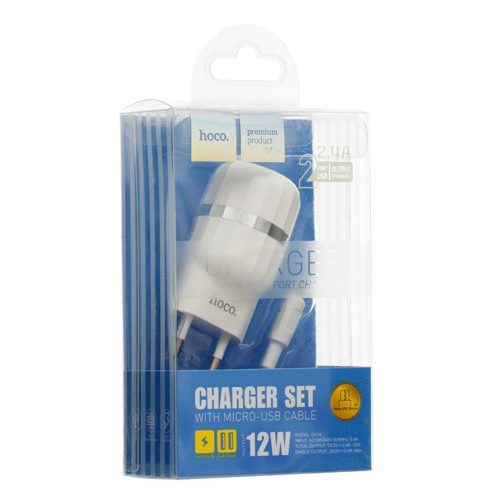 Мережевий зарядний пристрій Hoco C41A з кабелем Micro (2USB, 2.4 A, біле)