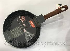 Сковорода Антипригарна Olina 28 См Гранітне Покриття І Дерев'яна Ручка