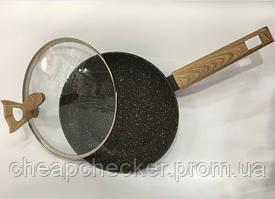 Сковорода З Кришкою 524 Антипригарне Мармурове Покриття 24 См