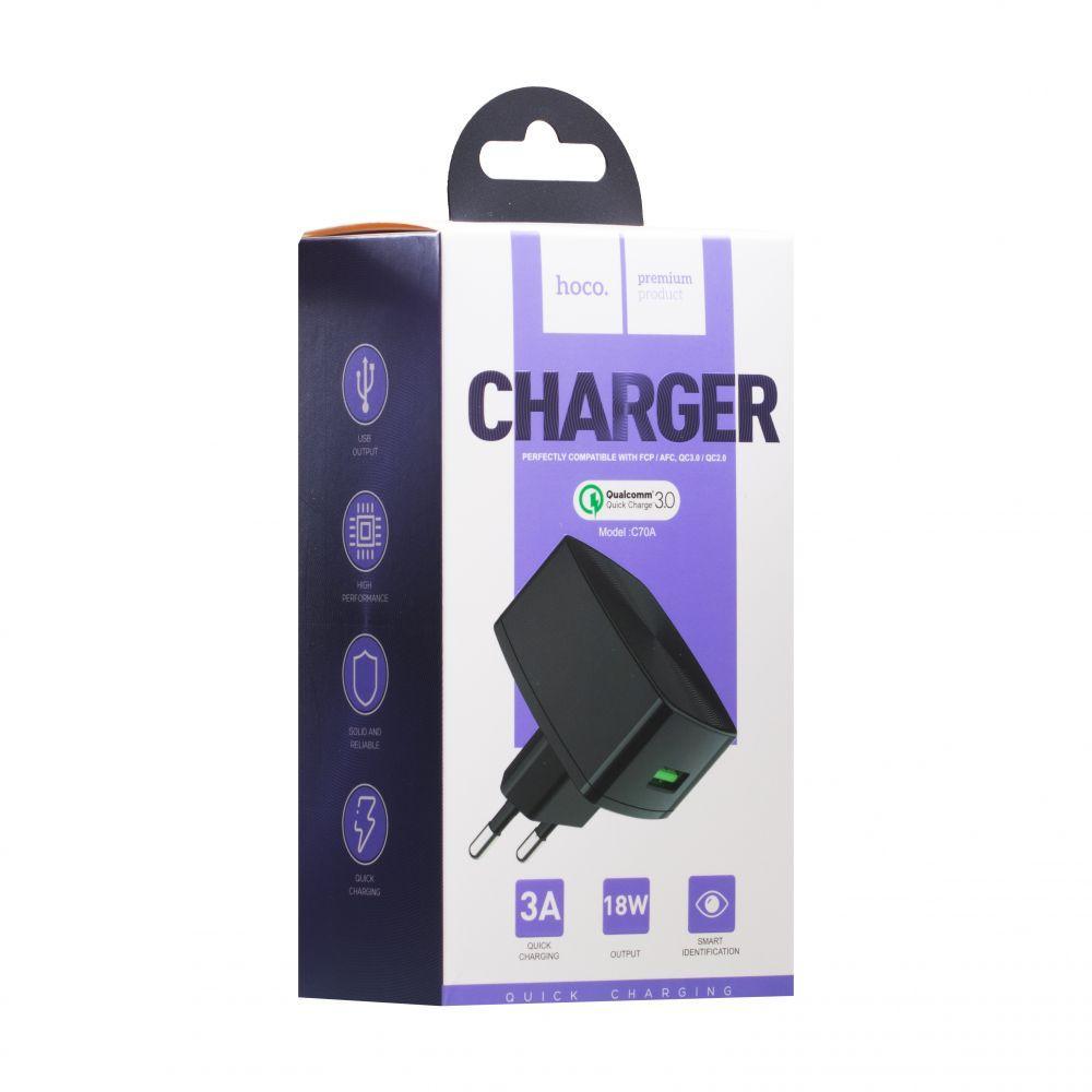 Мережевий зарядний пристрій Hoco C70A Cutting Edge (Quick Charge 3.0, 3A, чорне)