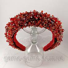 Красный высокий широкий Обруч ободок для волос с хрустальными бусинами
