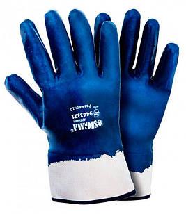 Перчатки трикотажные Sigma с нитриловым покрытием (синие краги), размер 10 (9443371)