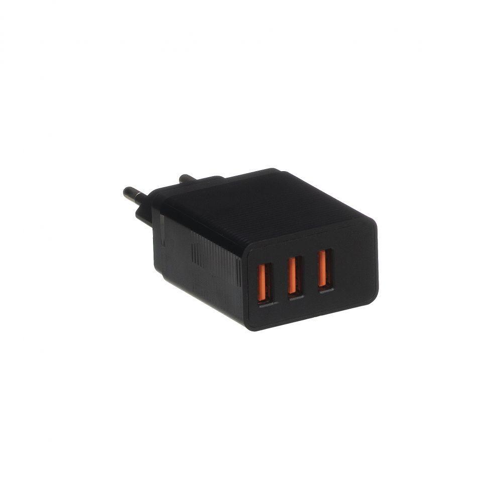 Сетевое зарядное устройство CX17 (3USB, 2.1A, черное)