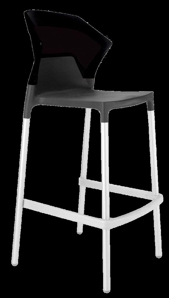 Барный стул Papatya Ego-S антрацит сиденье, верх черный