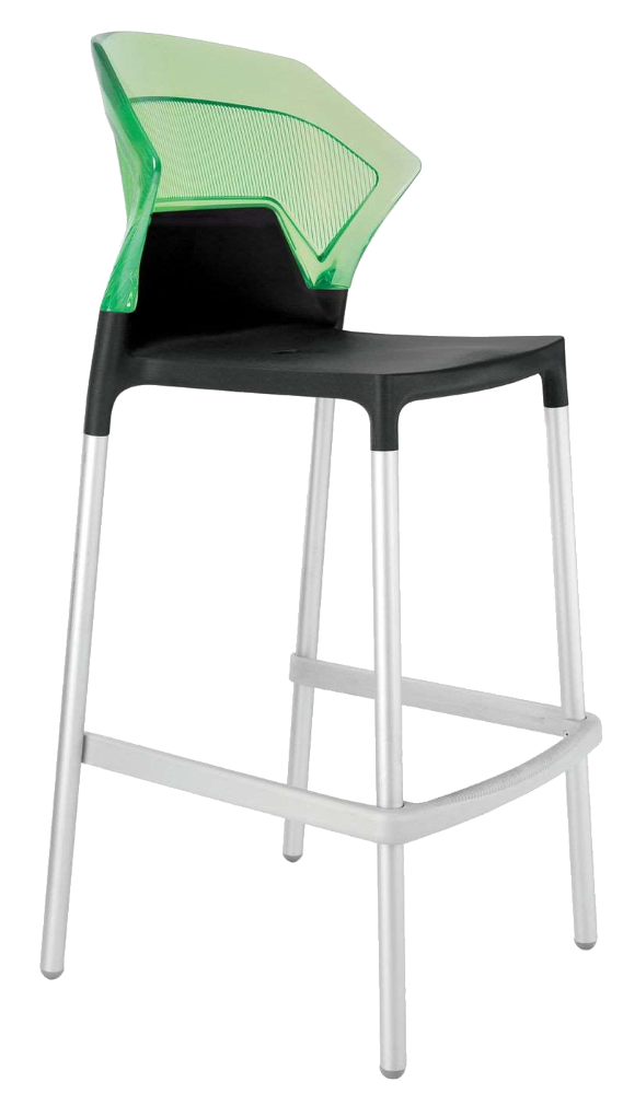 Барний стілець Papatya Ego-S чорне сидіння, верх прозоро-зелений