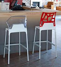 Барний стілець Papatya Ego-S чорне сидіння, верх прозоро-зелений, фото 3