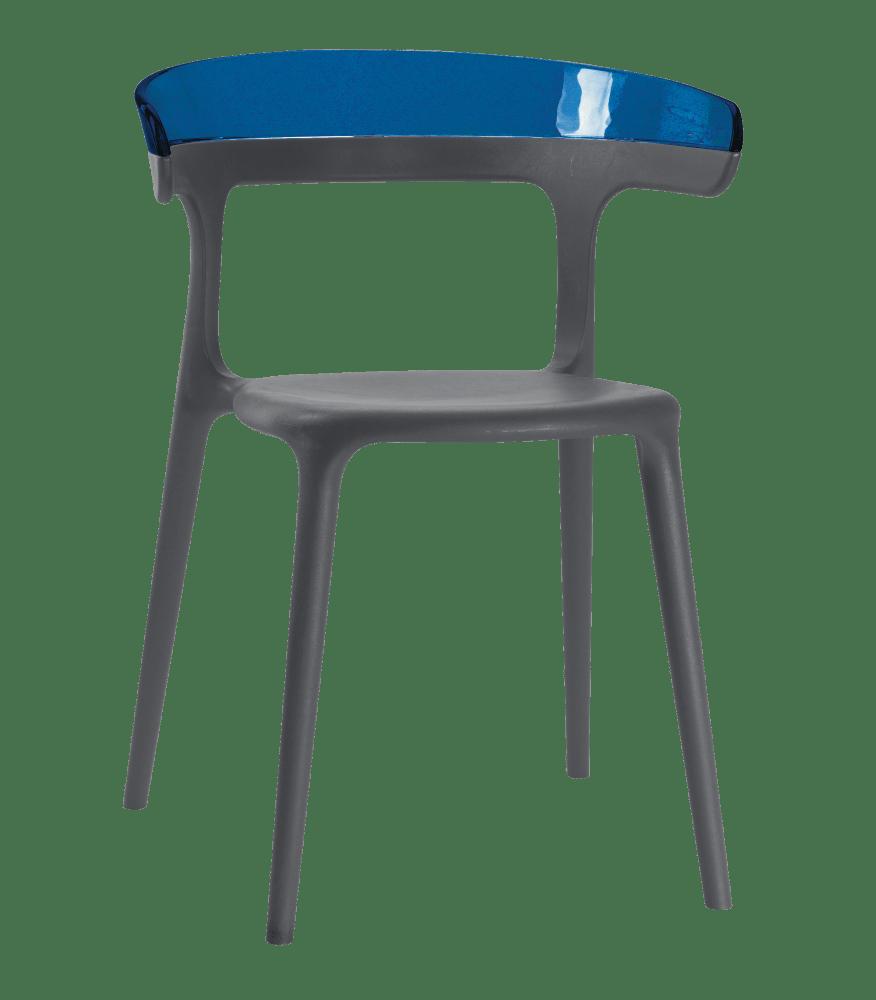 Кресло Papatya Luna антрацит сиденье, верх прозрачно-синий