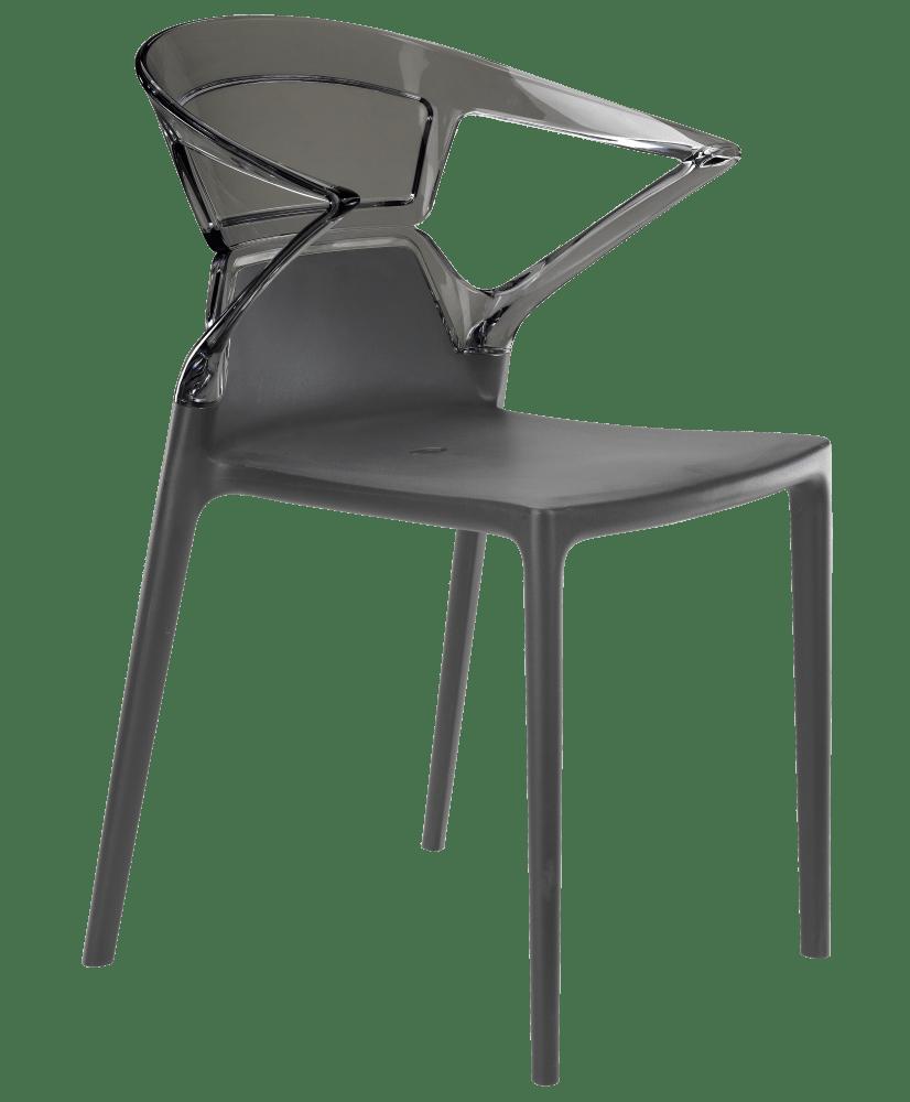 Крісло Papatya Ego-K біле сидіння, верх прозоро-червоний