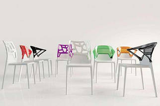 Кресло Papatya Ego-K белое сиденье, верх прозрачно-красный, фото 3