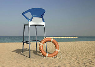 Барное кресло Papatya Ego-K антрацит сиденье, верх прозрачно-зеленый, фото 3