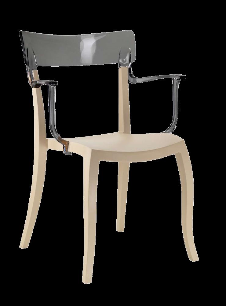 Кресло Papatya Hera-K песочно-бежевое сиденье, верх прозрачно-дымчатый