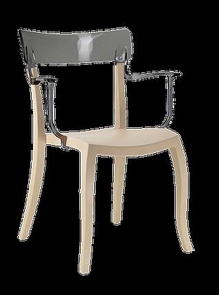 Кресло Papatya Hera-K песочно-бежевое сиденье, верх прозрачно-дымчатый, фото 2