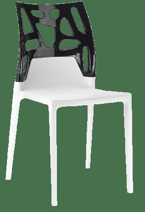Стул Papatya Ego-Rock белое сиденье, верх черный, фото 2