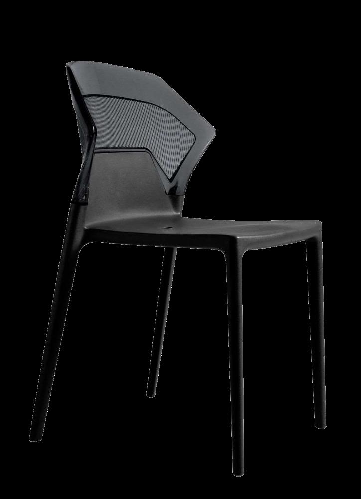 Стілець Papatya Ego-S чорне сидіння, верх прозоро-димчастий