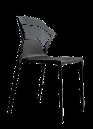 Стілець Papatya Ego-S чорне сидіння, верх прозоро-димчастий, фото 2