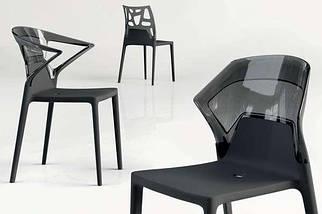 Стілець Papatya Ego-S чорне сидіння, верх прозоро-димчастий, фото 3