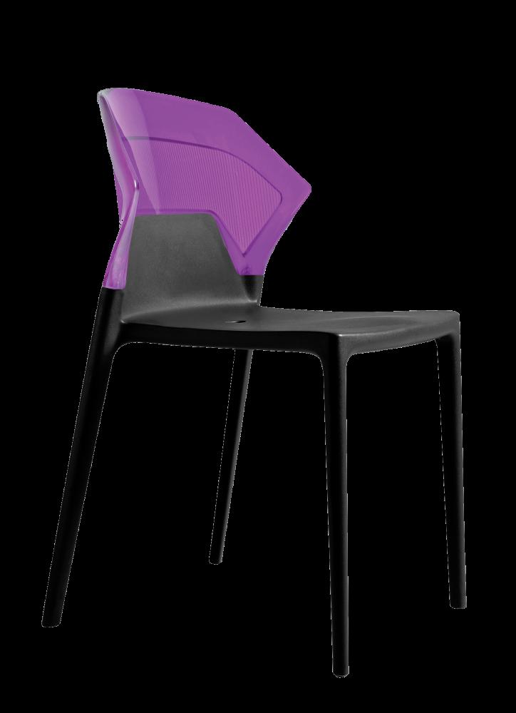 Стул Papatya Ego-S черное сиденье, верх прозрачно-пурпурный