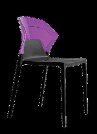 Стул Papatya Ego-S черное сиденье, верх прозрачно-пурпурный, фото 2