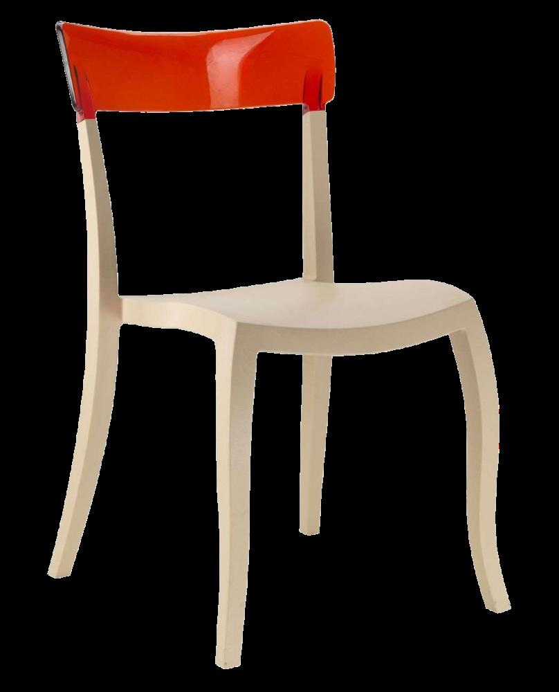 Стул Papatya Hera-S песочно-бежевое сиденье, верх прозрачно-красный
