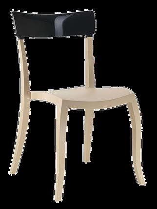 Стул Papatya Hera-S песочно-бежевое сиденье, верх черный, фото 2