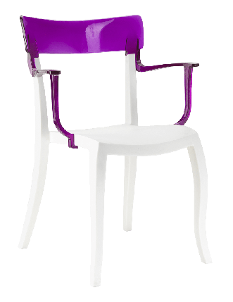 Кресло Papatya Hera-K белое сиденье, верх прозрачно-пурпурный, фото 2