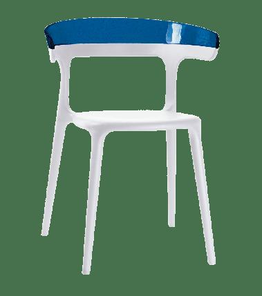 Кресло Papatya Luna белое сиденье, верх прозрачно-синий, фото 2