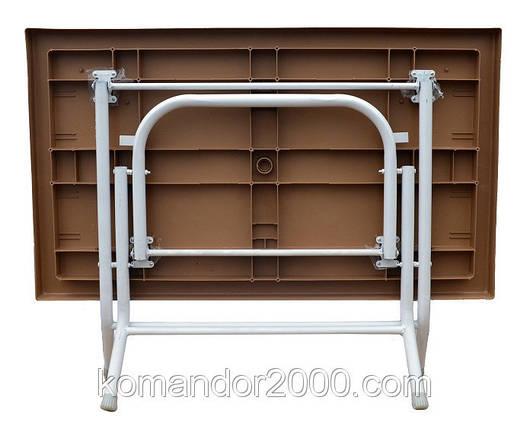 Стіл складаний прямокутний з металевими ніжками білий, фото 2