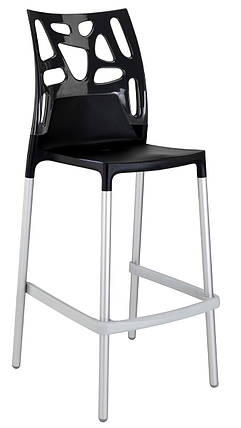Барный стул Papatya Ego-Rock черное сиденье, верх черный, фото 2