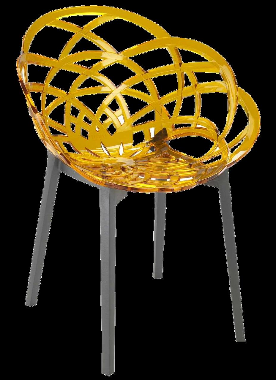 Крісло Papatya Flora прозоро-жовте сидіння, низ антрацит
