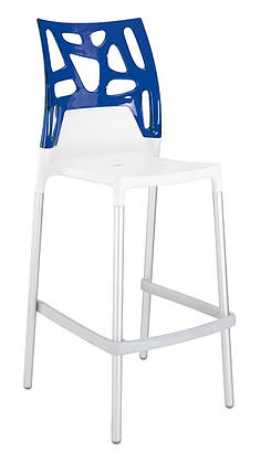 Барный стул Papatya Ego-Rock белое сиденье, верх прозрачно-синий, фото 2