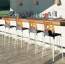 Барный стул Papatya Ego-Rock белое сиденье, верх прозрачно-синий, фото 3