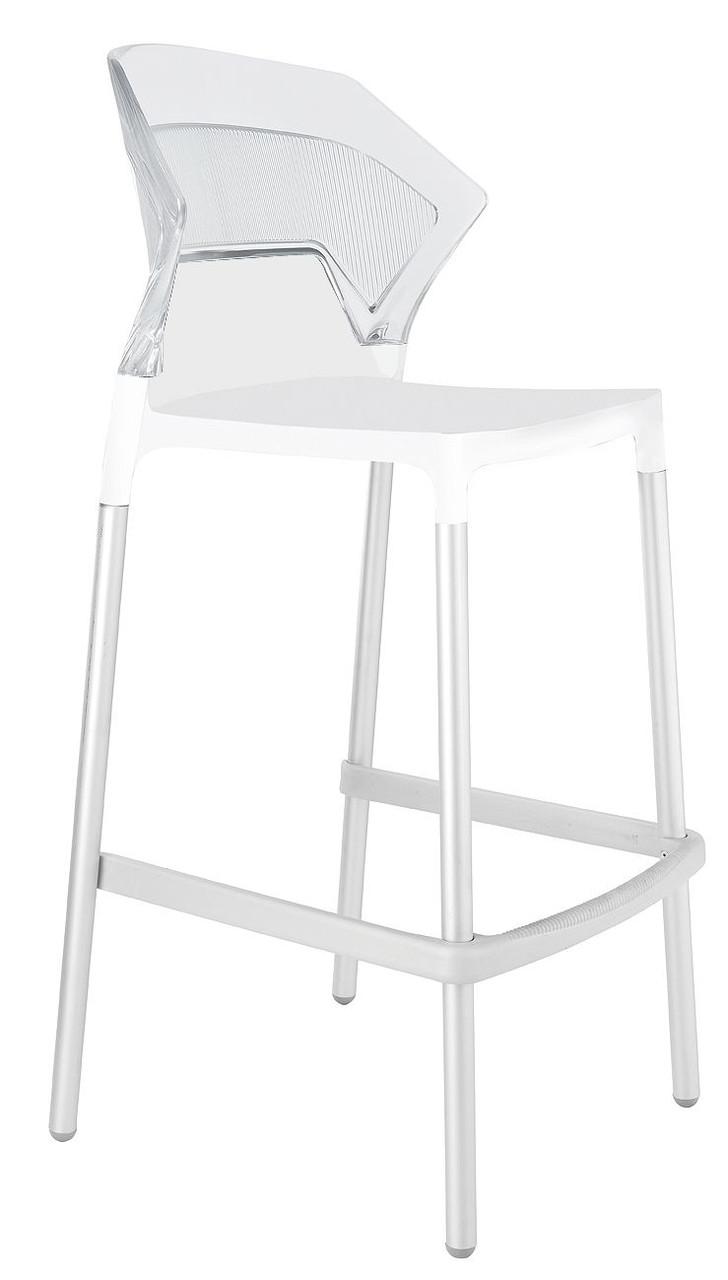 Барный стул Papatya Ego-S белое сиденье, верх прозрачно-чистый