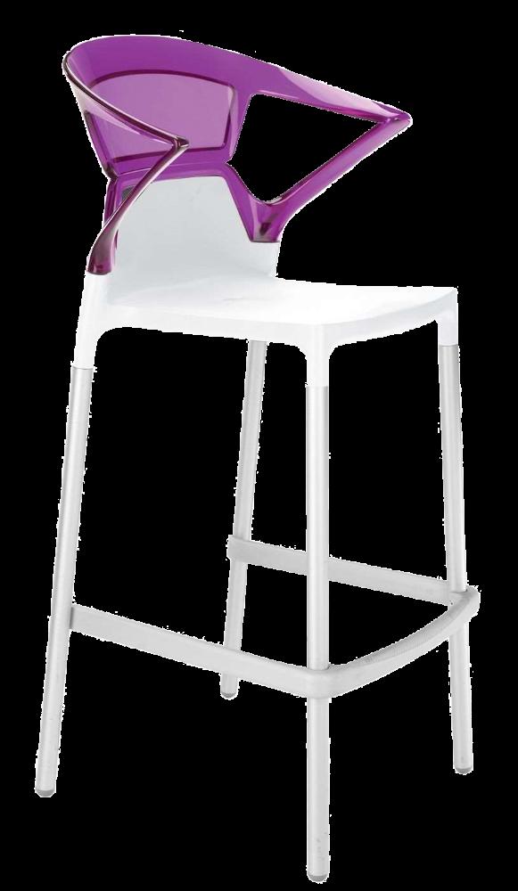 Барное кресло Papatya Ego-K белое сиденье, верх прозрачно-пурпурный