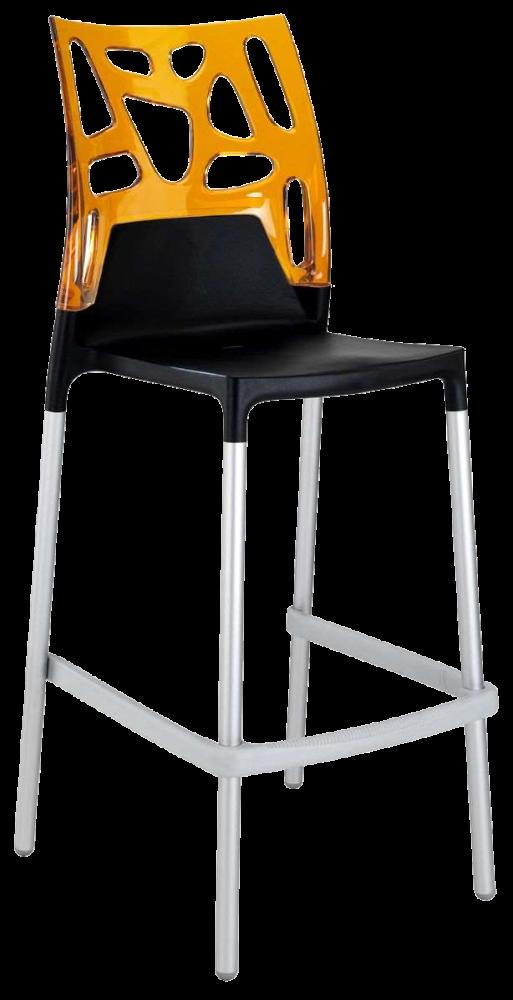 Барный стул Papatya Ego-Rock черное сиденье, верх прозрачно-оранжевый