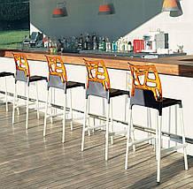 Барный стул Papatya Ego-Rock черное сиденье, верх прозрачно-оранжевый, фото 3