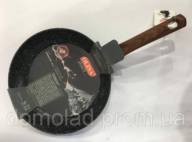 Сковорода Антипригарная Olina 24 См Гранитное Покрытие И Деревянная Ручка