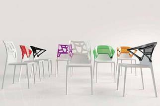 Кресло Papatya Ego-K белое сиденье, верх прозрачно-оранжевый, фото 3