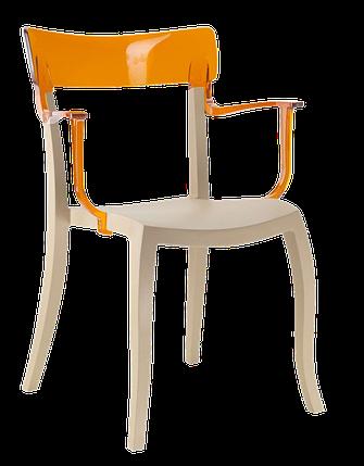 Кресло Papatya Hera-K песочно-бежевое сиденье, верх прозрачно-оранжевый, фото 2