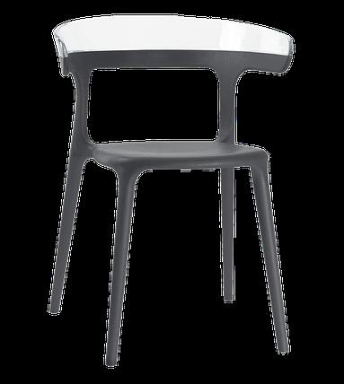 Кресло Papatya Luna антрацит сиденье, верх прозрачно-чистый, фото 2