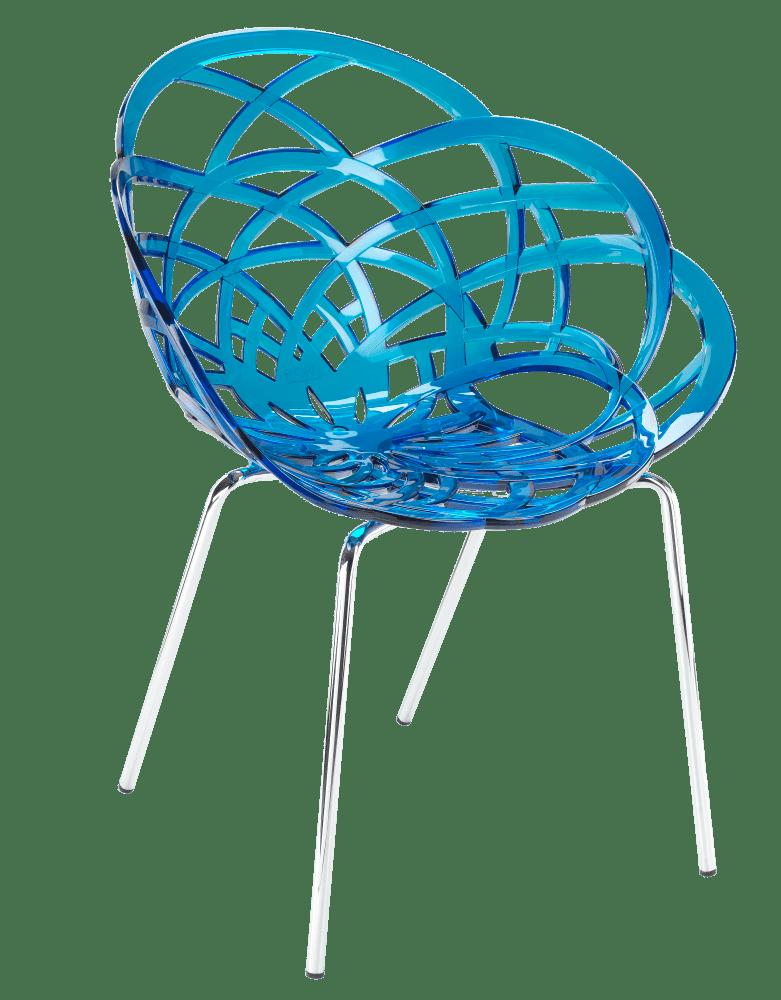 Кресло Papatya Flora-ML прозрачно-синее сиденье, ножки хром