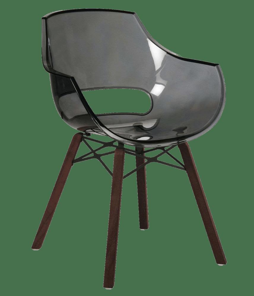 Кресло Papatya Opal Wox Iroko прозрачно-серое