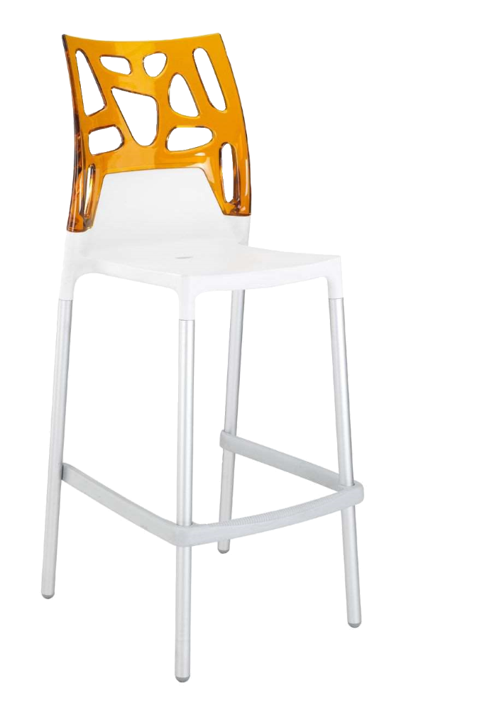Барный стул Papatya Ego-Rock белое сиденье, верх прозрачно-оранжевый
