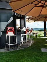 Барный стул Papatya Ego-Rock белое сиденье, верх прозрачно-оранжевый, фото 2